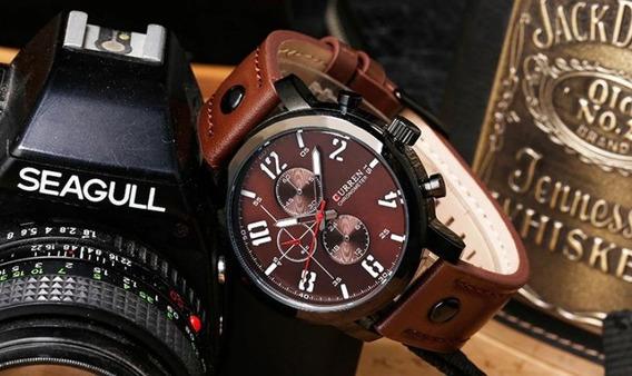 Relógio Masculino Curren 8192 Pulseira De Couro Prova D