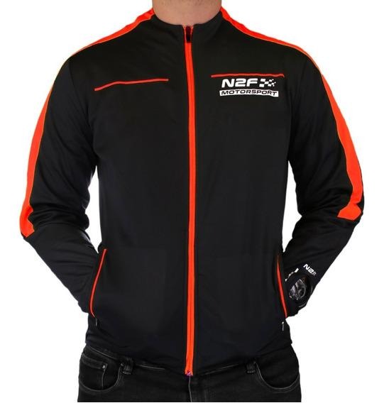 Chamarra N2f Motorsport Negro Y Naranja