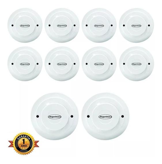 Kit 10 Detectores Incêndio/fumaça Segurimax Certificado