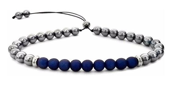 Pulseira De Perola Prata Com Azul Marinho Masculina Feminina