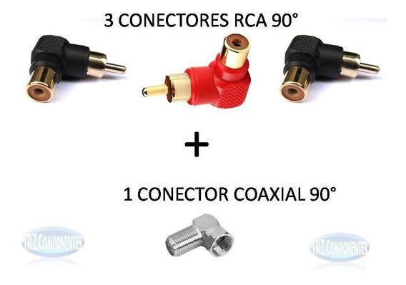 Kit 3 Conectores Plug Rca 90 Graus +1 Conector F Coaxial 90°