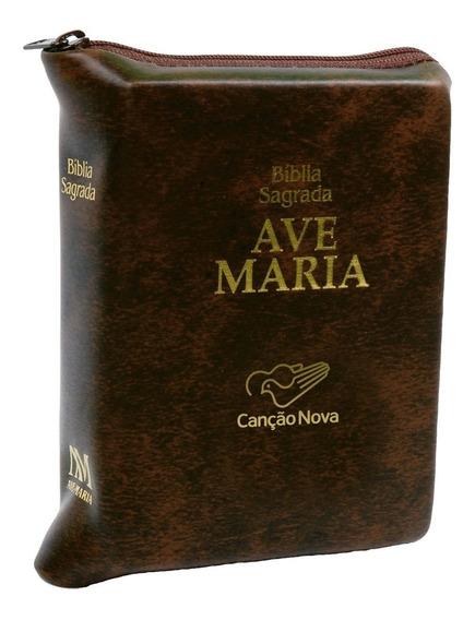 Livro Bíblia Ave Maria Média Com Zípper