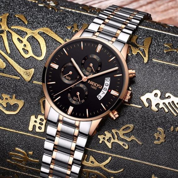 Relógio Suiço Nibosi Original Prata Rose Luxo Com Garantia