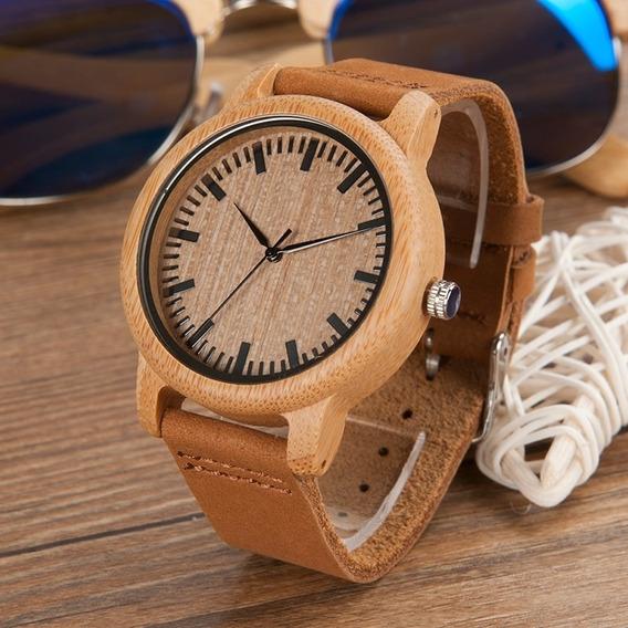 Relógio De Madeira Bobo Bird Original Unissex Quartz