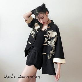 Kimono Dragão Dourado Camisa Oriental Punk C/ Gola Mandarim