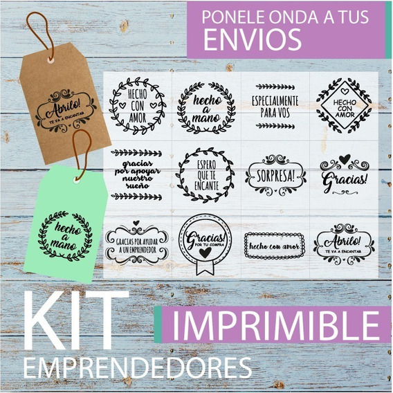 Kit Imprimible Emprendedores Tags Etiquetas