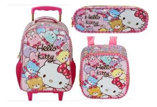 Kit Mochila Rod Lanch E Estoj Hello Kitty Tiny Bears Xeryus