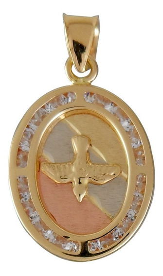 Medalla Dije Oval Espiritu Santo Oro 14 Kilates Circonias