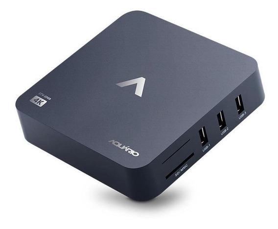 Streaming media player Aquário STV-2000 padrão 8GB preto com memória RAM de 1GB