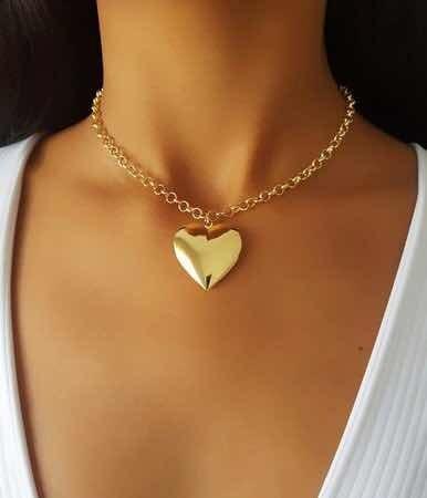 Corrente Banhada A Ouro18k 15 Milésimos Pingente Coração