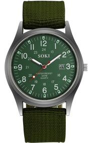 Relógio De Pulso Soki Nylon Militar Masculino Original