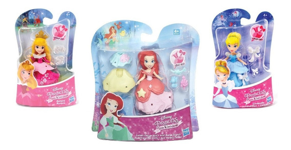 Bonecas (mini) Princesas Disney Kit C/ 3 Originais Hasbro