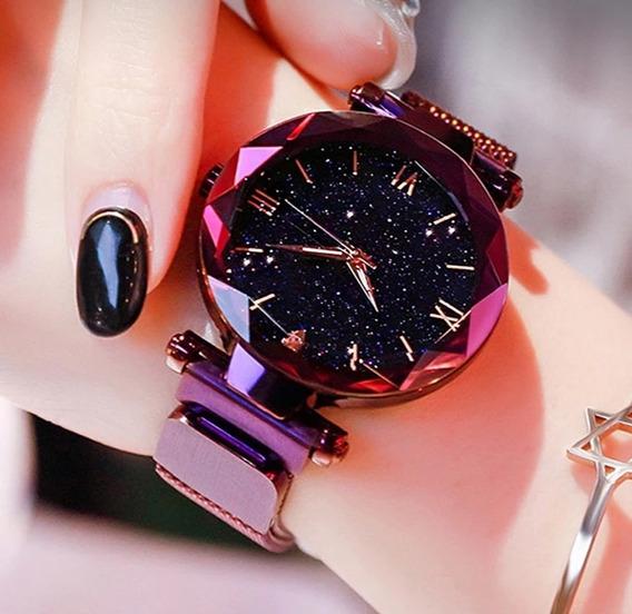Relógio Estrelado 3d Feminino C/ Fecho Magnético + Bracelete