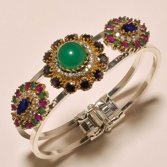 Bracelete Turco Feminino Banhado A Ouro Com Zirconias