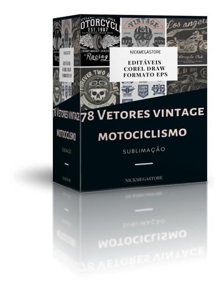 78 Vetores Vintage Moto Motociclismo Estampa Sublimação
