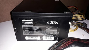 Fonte Atx 420w Real / Reais - Cooler 120mm - Led Azul Mymax