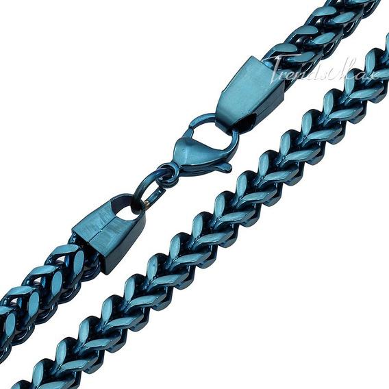 Cadena Azul Plata Adiamantado Brillante Acero Inoxidable
