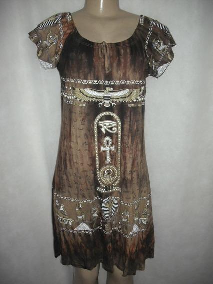 Vestido Marrom M Estampa Egito Egipcio Usado Bom Estado