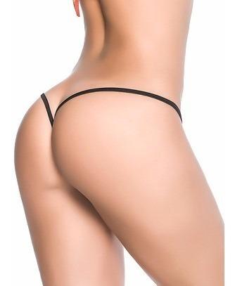 Imagen 1 de 5 de Micro Tanga Sexy Sensual Corte V Frente Desmontable -  Negra