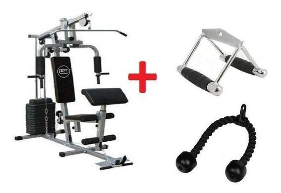 Estação De Musculação Com 80kg + Puxador Corda E Puxador Triangulo Fechado