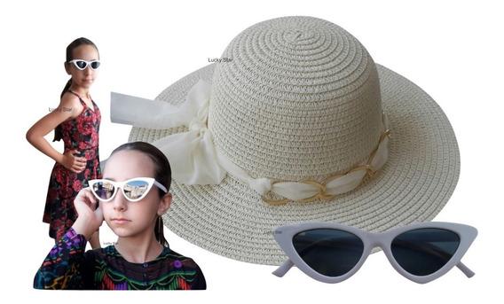 Óculos De Sol Infantil + Chapéu Praia 4 Até 8 Anos Kit