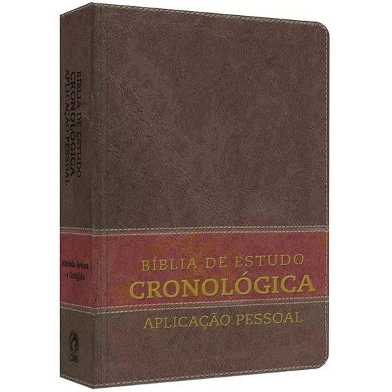 Bíblia De Estudo Cronológica Aplicação Pessoal Capa Em Couro