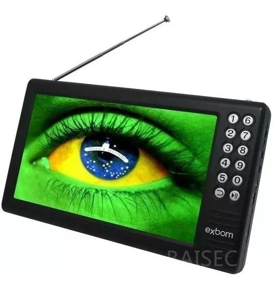 Mini Tv Digital Portátil Hd Tela 7.0 Usb Sd Rádio Fm Monitor Exbom