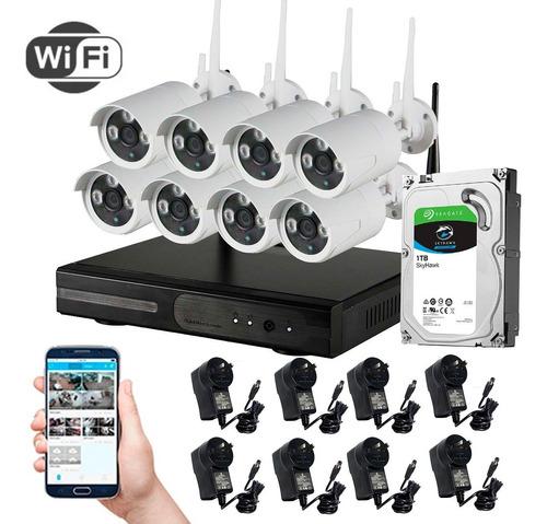 Imagen 1 de 4 de Kit Seguridad Tomsan Wifi Dvr/nvr + 8 Camaras + Hd 1 Tb