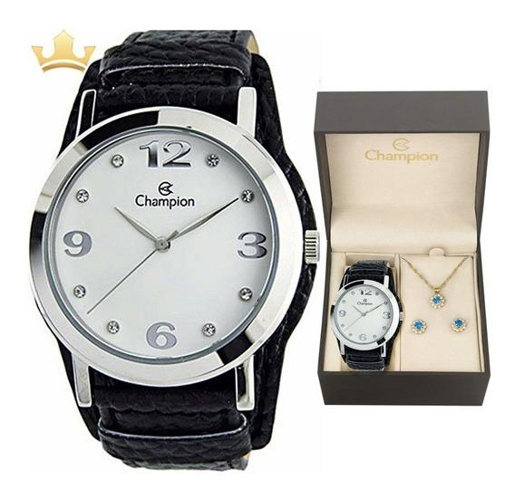 Relógio Champion Feminino Kit Cn20202c Com Nf