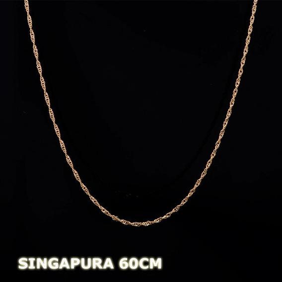 Conjunto Corrente Singapura E Pingente Em Ouro 18k