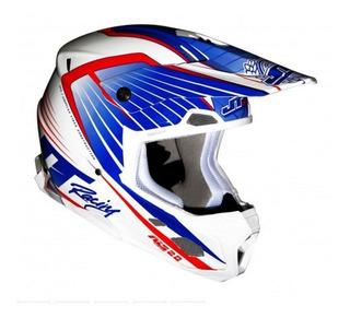 Casco Jt Racing Als 2.0 Azul Blanco Rojo Motocross No Fox