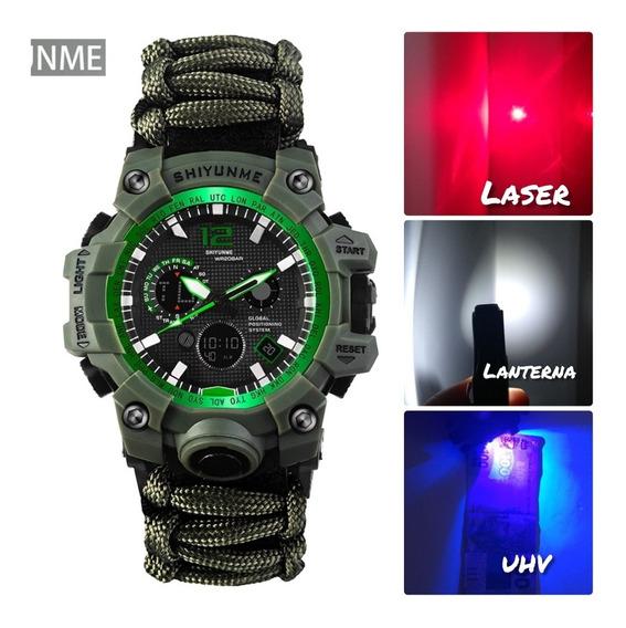 Relógio Da Sobrevivência Multifuncional Lanterna/ Laser/ Uhv