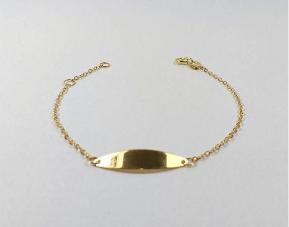 Pulseira Chapinha Infantil Ouro 18k 750 Masculina. 14,5cm