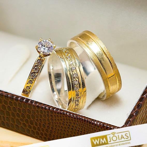 Aliança De Casamento Ouro E Prata + Anel Solitário Wm10213