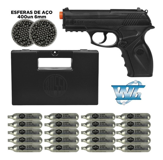 Pistola C11 De Co2 Airsoft Win Gun + Hiper Kit Esferas 6mm