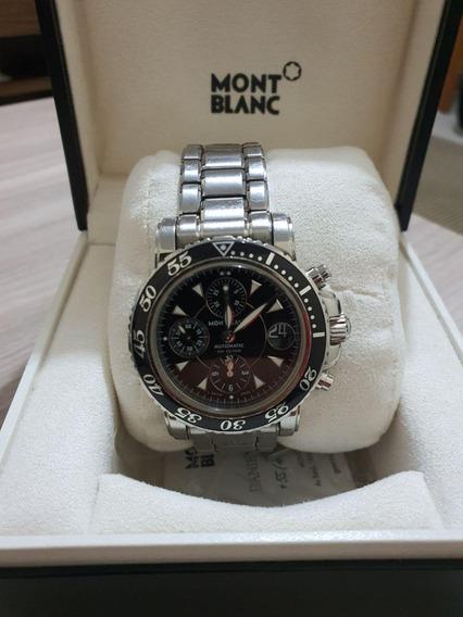 Relógio Montblanc Stainless Steel Ref: 7034 Fundo Preto!!!