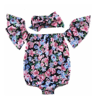 Verano Recién Nacido Bebé Niñas Body + Diadema Off Hombro