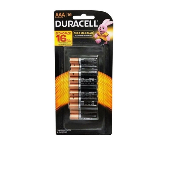 Kit 16 Pilhas Duracell Palito Aaa Cartela Econopack