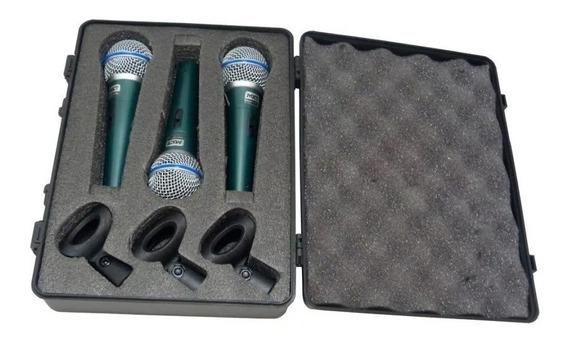 Kit 3 Microfone Profissional Mxt Bt-58a + Maleta + Cachimbo