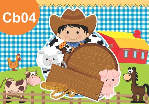 Painel Lona Festa Cowboy Fazendinha Vaqueiro