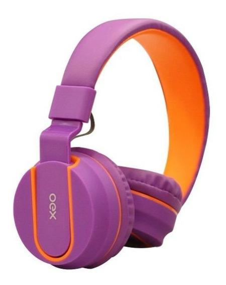 Fone De Ouvido C/microfone Headset Hs107 Fluor Oex Teen Roxo