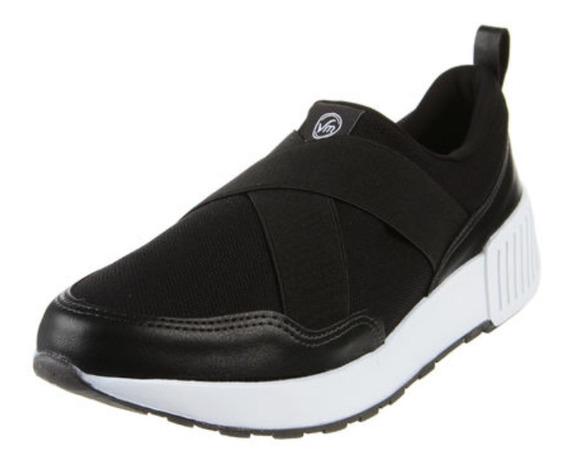 Zapatillas Mujer Negras Elastizadas Vía Marte 19-701 Import.