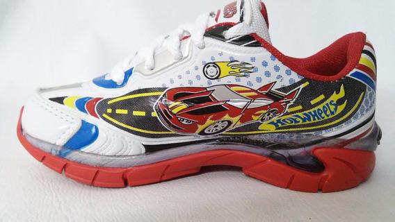 Tenis, Hot Wheels, Com Luz, Branco/vermelho, C/cadarço,