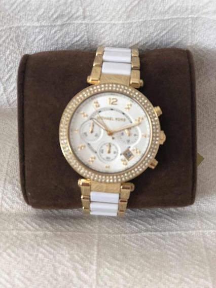 Relógio Feminino Michael Kors Mk 6119 Dourado Com Branco