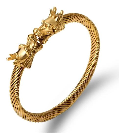 Super Pulseira Viking Dourada Banhada Ouro 18k Unissex