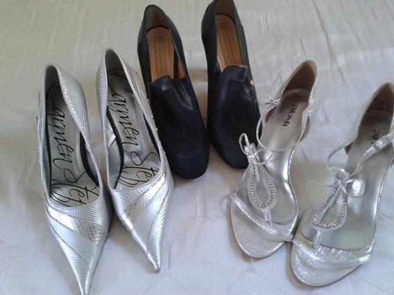 Lote 3 Calçados Feminino Tm 37 Carmen Stefens Novos
