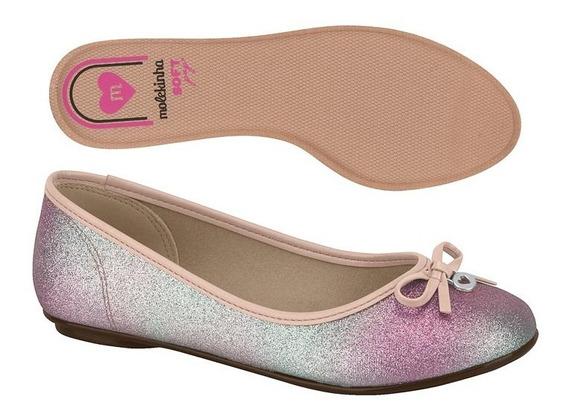 Zapatos Niña Balerina Molekinha Moño Brillos