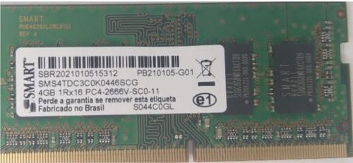 Memória Notebook Smart  4gb Ddr4 2666 Mhz Sms4tdcec0k0446scg