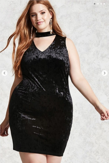 Vestido Forever 21 Terciopelo Negro Plus Size
