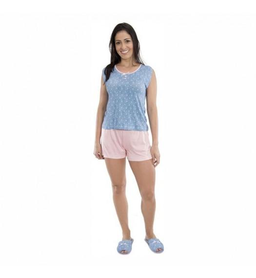 Conjunto Short Doll Viscolycra Corações Puff - 9068660 Azul